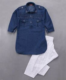 Babyhug Full Sleeves Denim Pathani Kurta And Pajama - Blue White