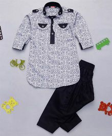 Babyhug Printed Pathani Kurta And Pyjama Set - Black