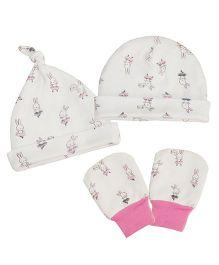 Kadambaby Ballerina Bunny Caps Set Of 2 & Mittens - White Pink