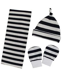 Kadambaby Stripes Swaddle Cap Mitten Set - White Black