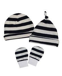 Kadambaby Stripes Caps Set Of 2 & Mittens - Black White