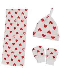 Kadambaby Little Heart  Swaddle Cap Mitten Set - White Red