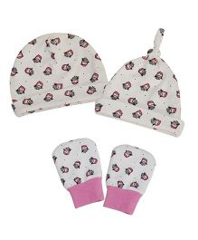 Kadambaby Owl Print Caps Set Of 2 & Mittens - White Pink