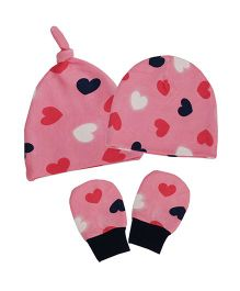 Kadambaby Hearts Print Caps Set Of 2 & Mittens - Pink