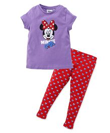 Chemistry Half Sleeves Printed Top With Pajama Minnie Mouse Print - Purple Red