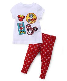 Chemistry Half Sleeves Printed Top With Pajama Minnie Mouse Print - White Red