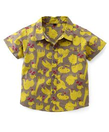 Bubblegum Printed Half Sleeve Linen Shirt - Khaki & Yellow