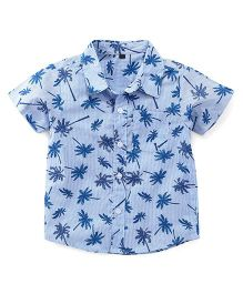 Bubblegum Tree Print Linen Shirt - Light Blue