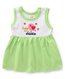 Pink Rabbit Sleeveless Frock Cute Little Chicken Print - Green