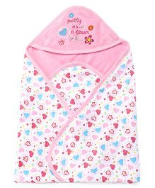 Pink Rabbit Hooded Blanket Flower Embroidery - Pink