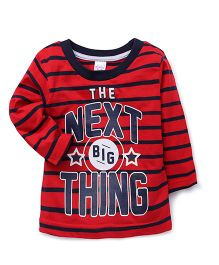 Pink Rabbit Full Sleeves Stripes T-Shirt Caption Print - Red