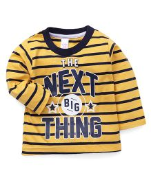 Pink Rabbit Full Sleeves Stripes T-Shirt Caption Print - Yellow Black