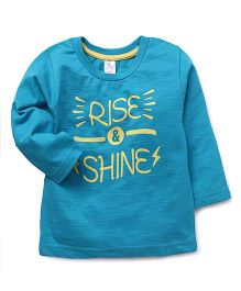 Pink Rabbit Full Sleeves T-Shirt Rise & Shine Print - Blue