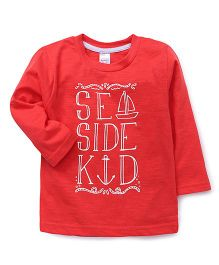 Pink Rabbit Full Sleeves T-Shirt Sea Side Print - Red