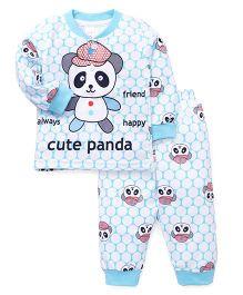 Pink Rabbit Full Sleeves Night Suit Panda Print - Blue