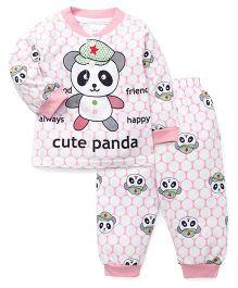 Pink Rabbit Full Sleeves Night Suit Panda Print - Pink