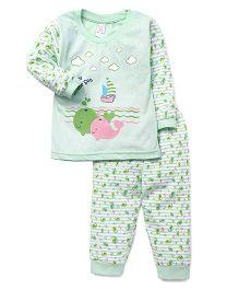 Pink Rabbit Full Sleeves Night Suit Fish Print - Green