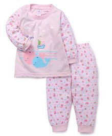 Pink Rabbit Full Sleeves Night Suit Fish Print - Pink