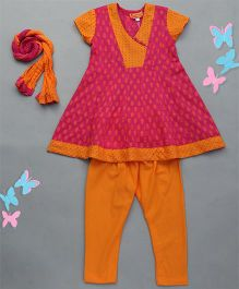 Exclusive from Jaipur Kurti & Churidar Set - Pink & Orange