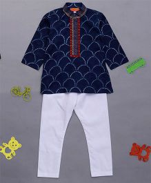 Exclusive From Jaipur Full Sleeves Kurta & Pajama Set - Navy Blue & White