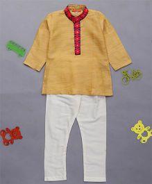 Exclusive From Jaipur Full Sleeves Kurta & Pyjama Set - Yellow & Cream