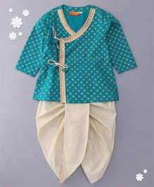 Exclusive from Jaipur Full Sleeves Kurta With Gota Detailing & Dhoti Set - Sea Green & Gold