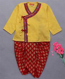 Exclusive from Jaipur Full Sleeves Kurta Dhoti Set - Yellow Red