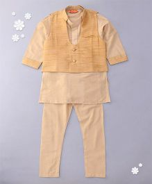 Exclusive from Jaipur Full Sleeves Kurta Pajama And Bandi Set - Beige