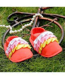 D'Chica Frills And Fun Crib Booties - Orange