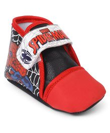 Spider Man Booties With Velcro Closure - Red Black