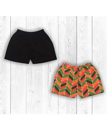 Pranava Organic Cotton Pack Of 2 Shorts - Black & Multicolour