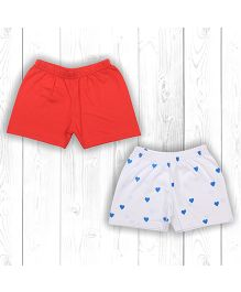 Pranava Tomato Printed & Solid Organic Cotton Pack Of 2 Shorts - Red & White