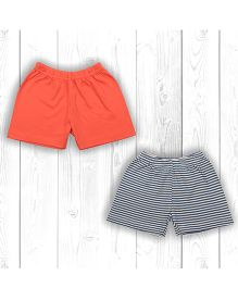 Pranava Stripe & Solid Organic Cotton Pack Of 2 Shorts - Orange & Grey