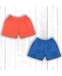 Pranava Organic Cotton Pack Of 2 Shorts - Orange & Blue
