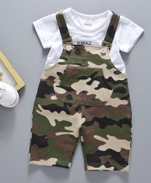 Pre Order - Awabox Tee & Camouflage Print Dungaree Set - Green
