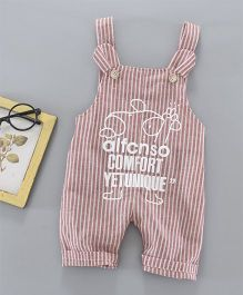 Pre Order - Awabox Stripes Print Dungaree - Dull Red