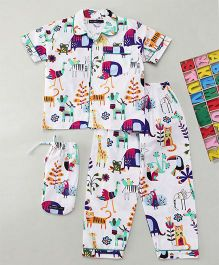 White Rabbit Colorful Forest Sleepwear - White