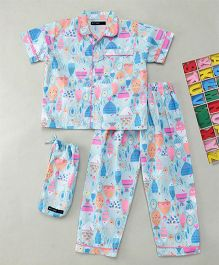 White Rabbit Fish Print Sleep Wear - Sky Blue