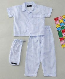 White Rabbit Striped Dragon Fly Sleepwear - Blue