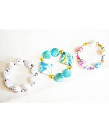 Little Tresses Flower Bracelets Set Of 3 - Multicolor