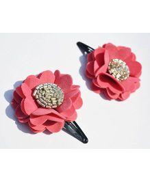 Little Tresses Scalloped Flower Snap Clip Set Of 2 - Pink