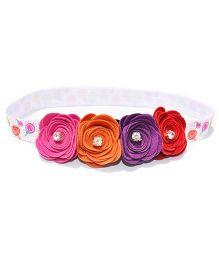 Little Tresses Rose Flowers On Soft Headband - Multicolor