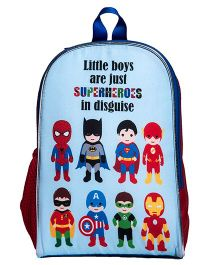Li'Ll Pumpkins Superhero Printed School Bag - Red & Blue