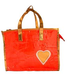 Li'Ll Pumpkins Glitter Heart Printed Tote Bag - Orange