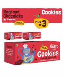 Slurrp Farm Wholewheat Ragi And Chocolate Cookies Pack Of 3 Boxes - 75 gm each