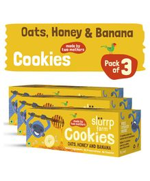 Slurrp Farm Oats Honey Banana And Raisin Cookies Pack Of 3 Boxes - 75 gm each