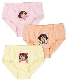 Dora Panties Printed Pack Of 3 - Pink Yellow Peach
