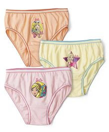 Barbie Panties Printed Pack Of 3 - Pink Yellow Peach
