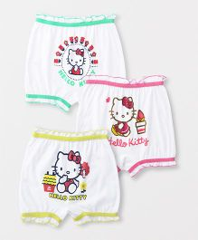 Hello Kitty Bloomers Printed Pack Of 3 - White Green Pink