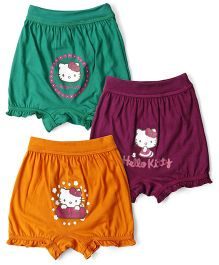 Hello Kitty Bloomers Pack Of 3 - Green Violet Yellow